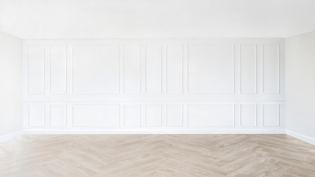 Minimal empty room with white patterned wall