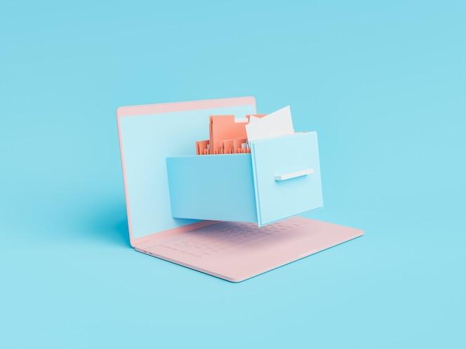 Minimal file cabinet on laptop screen