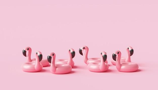 열대 휴가 개념 분홍색 배경에 최소한의 플라밍고 풍선 수영장 반지와 여름 시즌. 3d 렌더링.