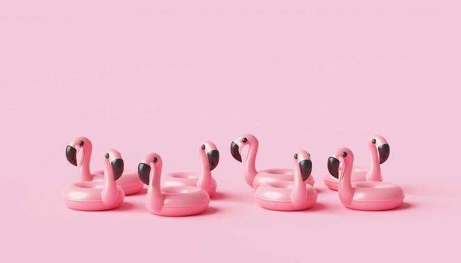 Минимальное кольцо надувного бассейна фламинго и летний сезон на розовом фоне с концепцией тропического отдыха. 3d-рендеринг.