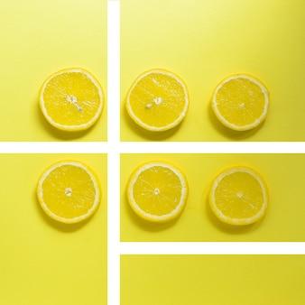 テキストのトップビューミニマリズム創造的な柑橘系の果物のための明るい黄色の背景の空きスペースに最小限の食品コンセプトレモン
