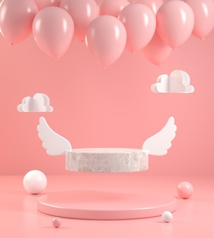 Minimal form stone wing display fly with balloon on pink pastel abstract bakground 3d render