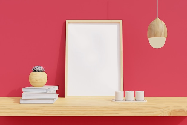 Minimal frame on wooden shelf with plants in room with pink wall. 3d rendering.