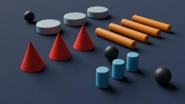 Minimal geometric background.shapes design 3d render