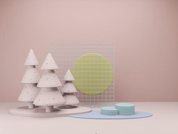 最小限の幾何学的な表彰台展示スタンド製品の展示