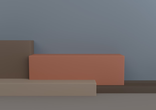 Minimal geometric shape sun washed and warm 3d rendering.