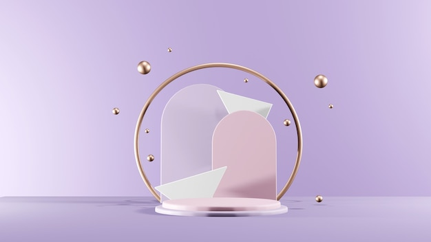 Minimal geometrical scene, cosmetics podium with metallic spheres. front view 3d rendering.
