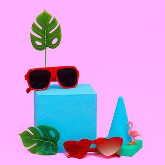 Minimal geometry composition fashion accessories sunglasses. beach tropical concept