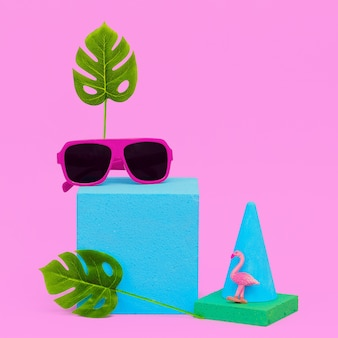 Minimal geometry composition fashion accessories sunglasses. beach vacation concept
