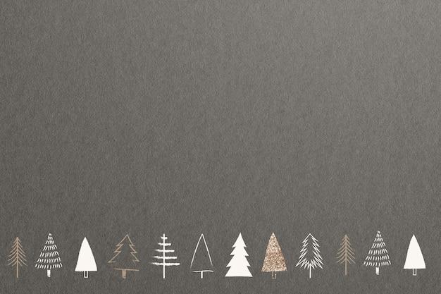 디자인 공간이 있는 최소한의 골드 크리스마스 트리 소셜 미디어 배너 배경