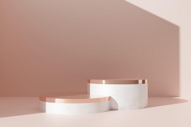 추상적 인 배경 3d 렌더링에 최소한의 금 대리석 연단 컬렉션