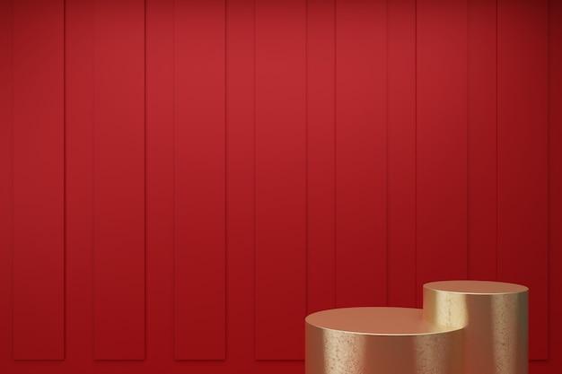 추상 빨간색 배경 3d 렌더링에 최소한의 금 연단 컬렉션