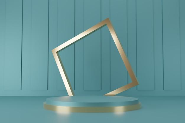 추상적 인 배경 3d 렌더링에 최소한의 녹색 및 금 연단 컬렉션