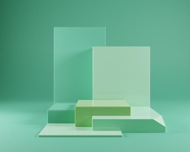 Минимальный зеленый геометрический подиум макет на зеленом фоне