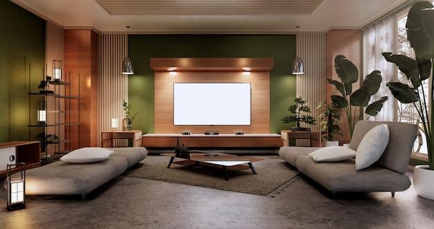 最小限の緑のリビングルーム。3dレンダリング