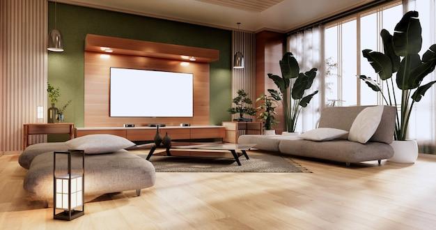 Минимальная зеленая гостиная. 3d визуализация