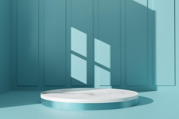 추상적 인 배경 3d 렌더링에 최소한의 녹색 대리석 연단 컬렉션