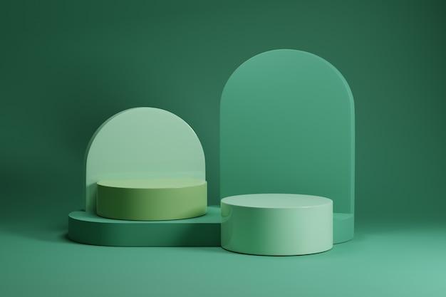 Минимальный зеленый постамент макет на зеленом фоне