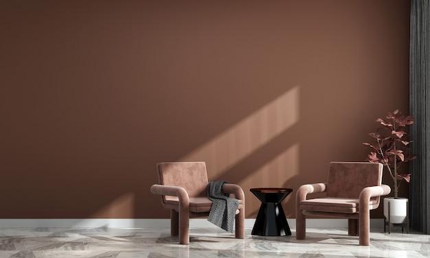 Минималистичный дизайн интерьера дома и украшения и гостиной и пустой пастельный фон стены