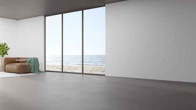 Минимальный домашний интерьер 3d-рендеринга с видом на пляж и море.