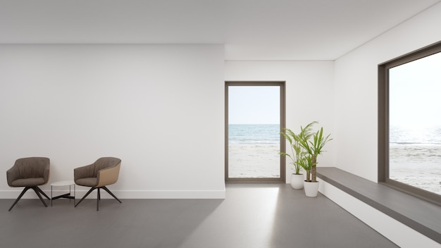 Minimal home interior 3d rendering with beach and sea view.