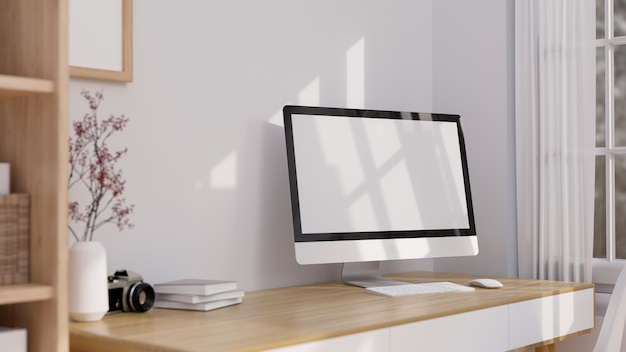 Minimal home working space interior with computer blank screen mockup on wooden table 3d rendering