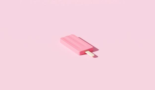 トロピカルホリデーをコンセプトにしたピンクの背景に最小限のアイスクリームスティックデザートと夏のシーズン。 3dレンダリング。