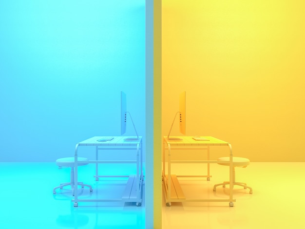 Minimal idea concept, computer on work desk wooden table yellow and blue color. 3d render.