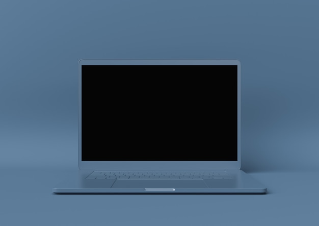 Minimal idea concept, laptop mock-up with blank display on blue background. 3d render.