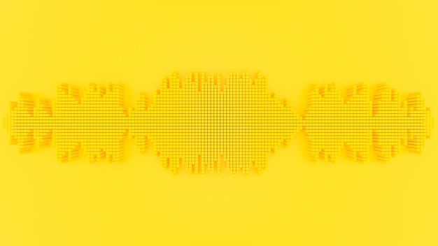 Minimal idea concept. sound wave yellow color. 3d render.