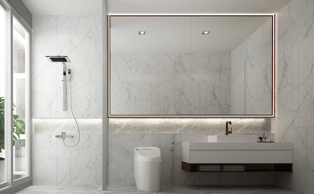 Минималистичный дизайн интерьера ванной комнаты и белый туалет и раковина и мраморная 3d визуализация