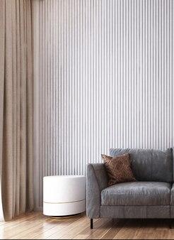 Минималистичный дизайн интерьера гостиной и белая деревянная стена