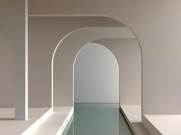ミニマルな形のアーチが背景と水にある最小限のインテリアシーン