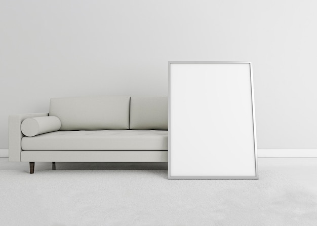 Minimal interior sofa with frame