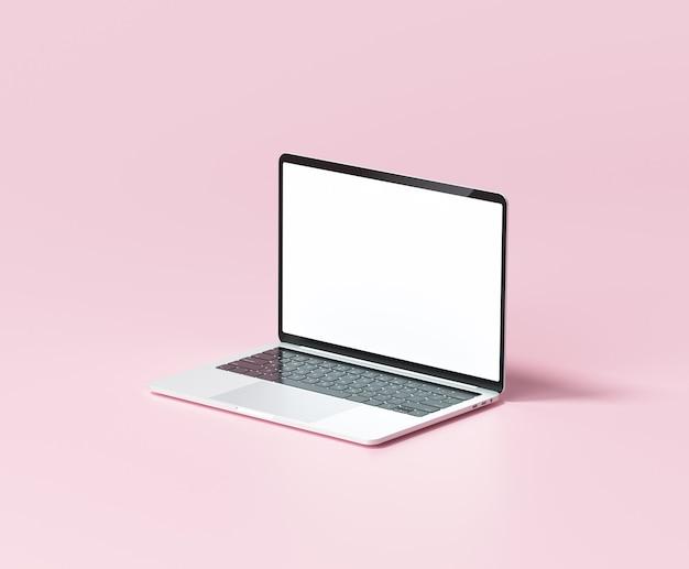Минимальный макет ноутбука на розовом фоне