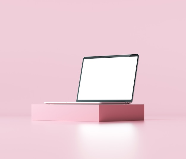 Минимальный макет ноутбука с абстрактными геометрическими фигурами на розовом фоне
