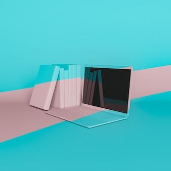 Минималистичный ноутбук с книгами рядом