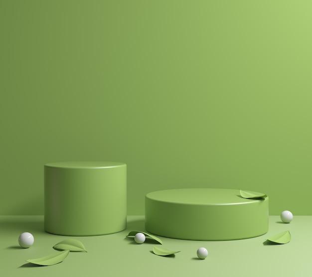 Minimal light green platform with green leaves 3d render