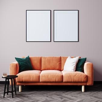 最小限のリビングルームのデザイン、空のモダンな背景のオレンジ色のソファ、3dレンダリング