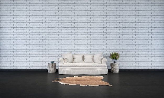 The minimal living room interior design and brick wall texture background