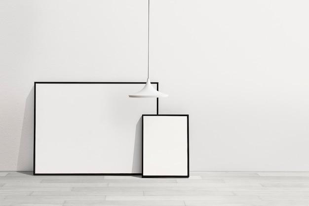 空白のフレームと最小限のリビングルームのインテリアデザイン