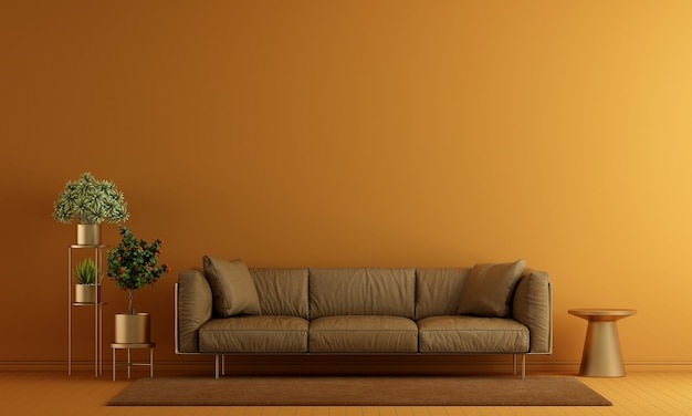 Minimal living room interior and furniture mock up and yellow wall texture background