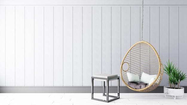 Минимальная гостиная с диваном. 3d визуализация интерьера.