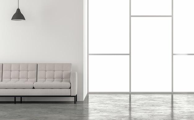 최소한의 로프트 스타일 거실 3d 렌더링 자연 채광이 방으로 빛납니다