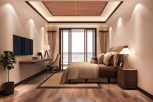 Minimal luxury asian style bedroom suite in hotel with tv