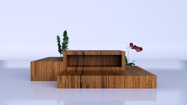 Минималистичный роскошный коричневый изящный деревянный подиум и зеленые листья на пастельном фоне