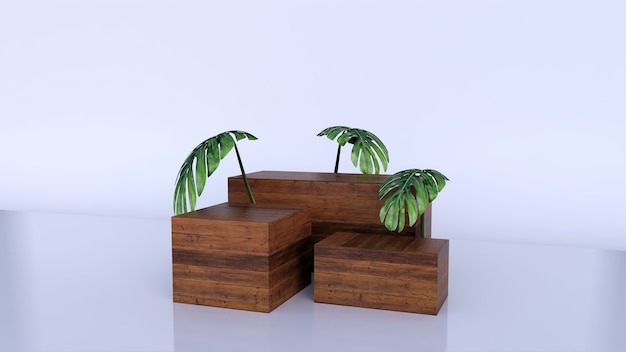 最小限の豪華な茶色の細かい木箱の表彰台と白の緑の葉