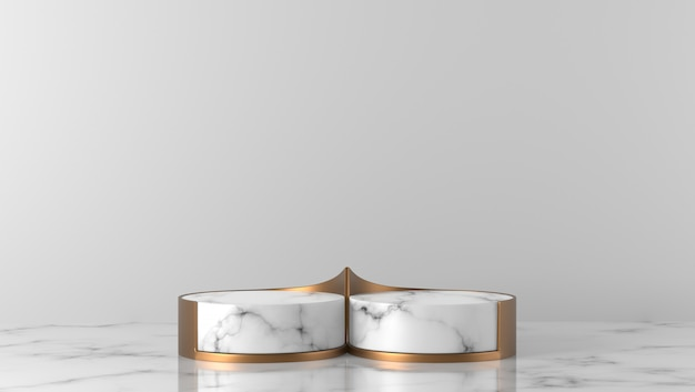 Minimal luxury two white and gold marble cylinder podium in white background