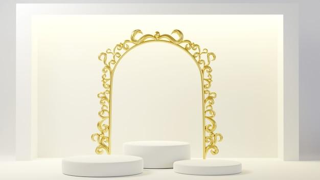最小限の豪華な白いデザイン白いコンクリートの壁の背景にシリンダーボックスの表彰台。 3dレンダリング