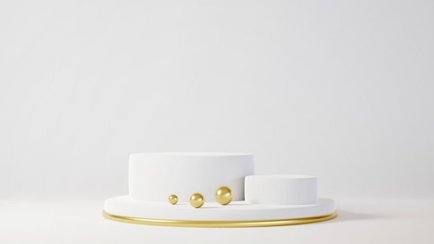 최소한의 럭셔리 화이트 디자인 흰색 콘크리트 벽 배경에서 실린더 상자 연단. 3d 렌더링